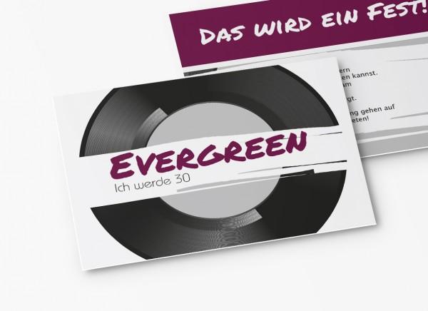 Einladungskarten 30. Geburtstag Schallplatte lila
