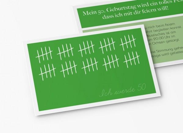 Einladungskarten 50. Geburtstag Strichliste