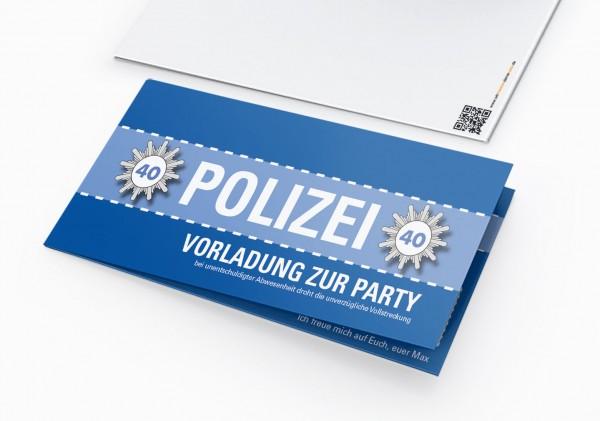 Einladungskarte lustig Geburtstag Vorladung Polizei DIN Lang Klappkarte