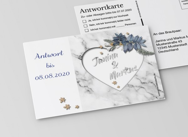 Antwortkarten für Einladung Hochzeit - Marmor-Optik