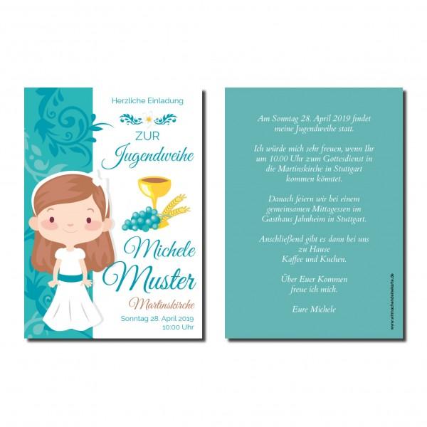 Einladung Einladungskarte Jugendweihe Ornament Mädchen