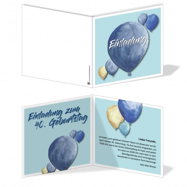 Einladung Einladungskarte Geburtstag Blue Balloon 4