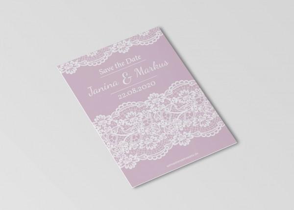 Save the Date Karten Einladung Hochzeit - Rosa Spitze
