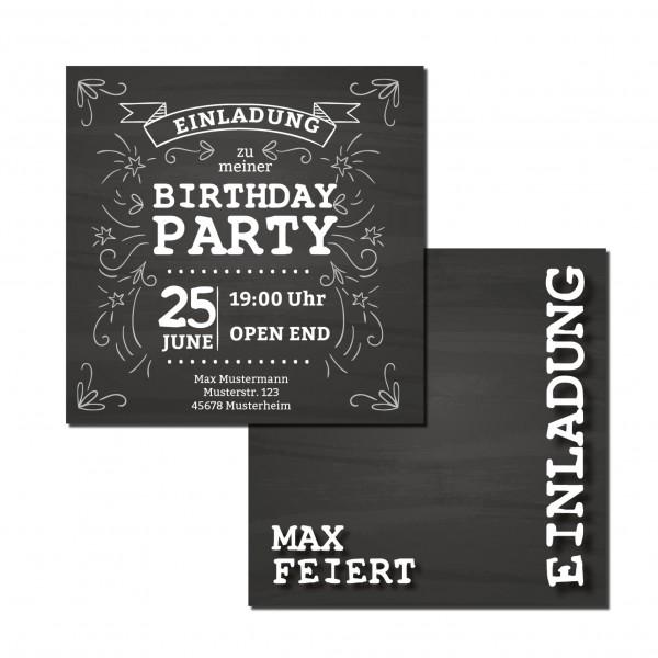 Einladung Einladungskarte Geburtstag Vintage schwarz-weiß