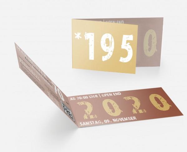 Geburtstag Einladungskarten - 70. Geburtstag Zeitsprung Braun Beige