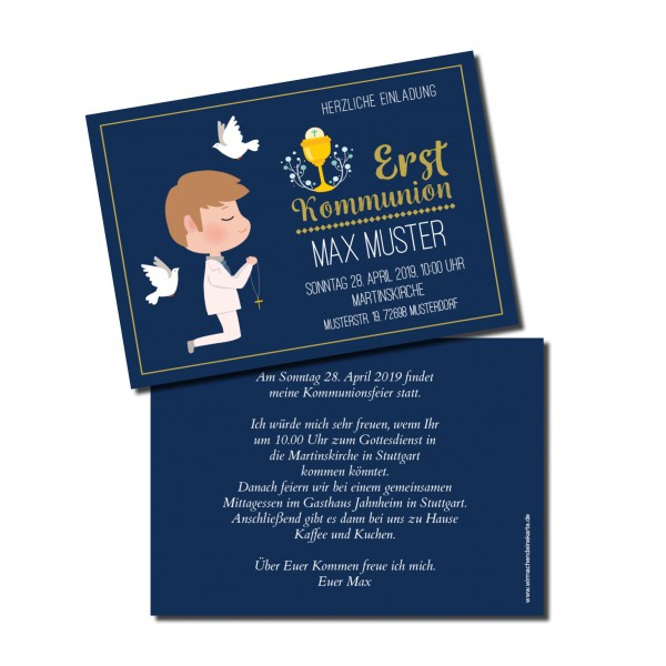 Einladung Einladungskarte Kommunion Blau