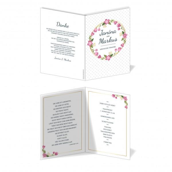 Kirchenprogramm Hochzeit - Blumen Punkte