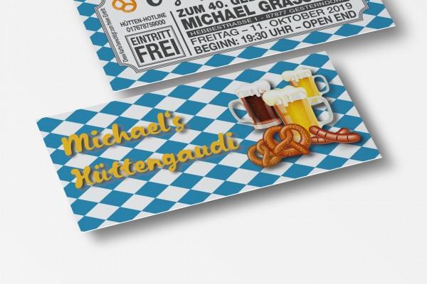 O´Zapft is Einladung Einladungskarte Geburtstag bayrische Fahne
