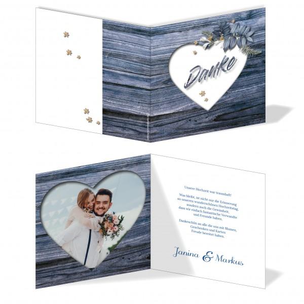 Dankeskarten Hochzeit - Rustikale Holz-Optik blau