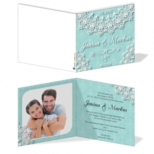 Einladungskarten Hochzeit Hochzeitskarten mit Druck - Türkis&Spitze