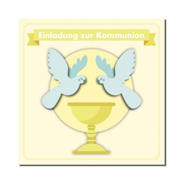 Einladung Einladungskarte Kommunion Friedenstauben