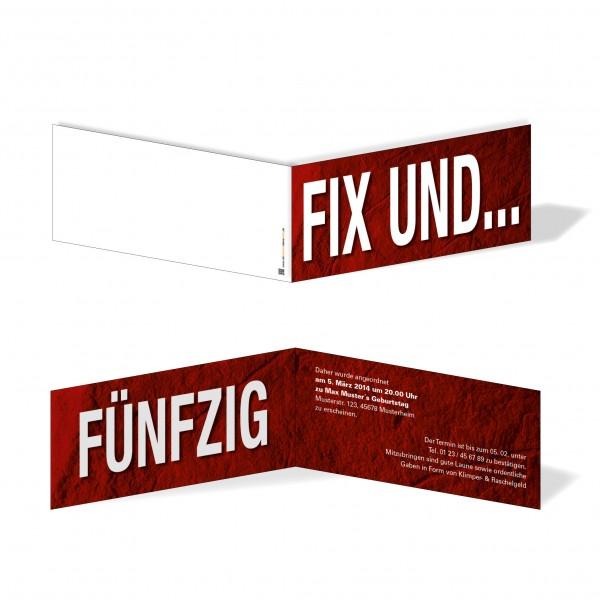 Geburtstag Einladungskarten - 50. Geburtstag Fix und Fünfzig Rot