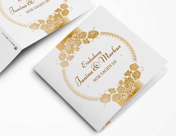 Einladungskarten Hochzeit Hochzeitskarten mit Druck - goldener Moment