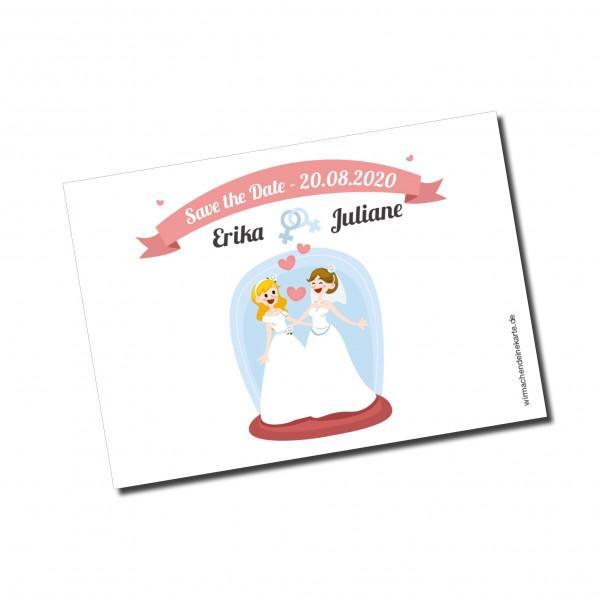 Save the Date Karten Einladung Hochzeit - Frau & Frau