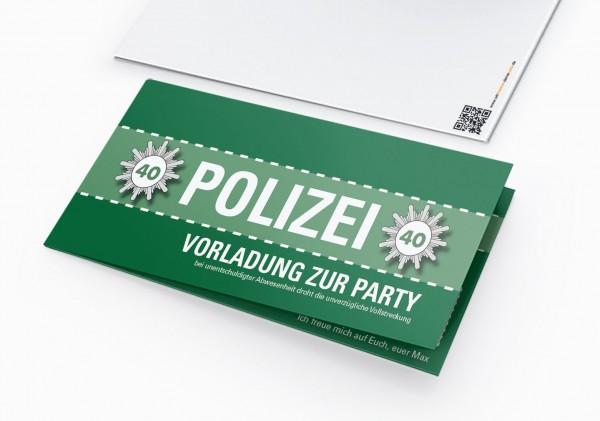 Einladungskarte lustig Geburtstag Vorladung Polizei DIN Lang Klappkarte grün