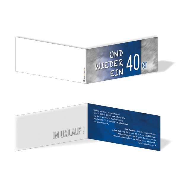 Geburtstag Einladungskarten - 40. Geburtstag und wieder ein 40er Blau