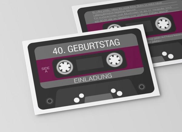Einladungskarte Retro Kassette