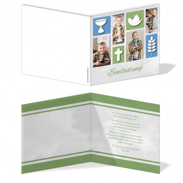 Einladung Einladungskarte Kommunion Bildertanz Blau/Grün