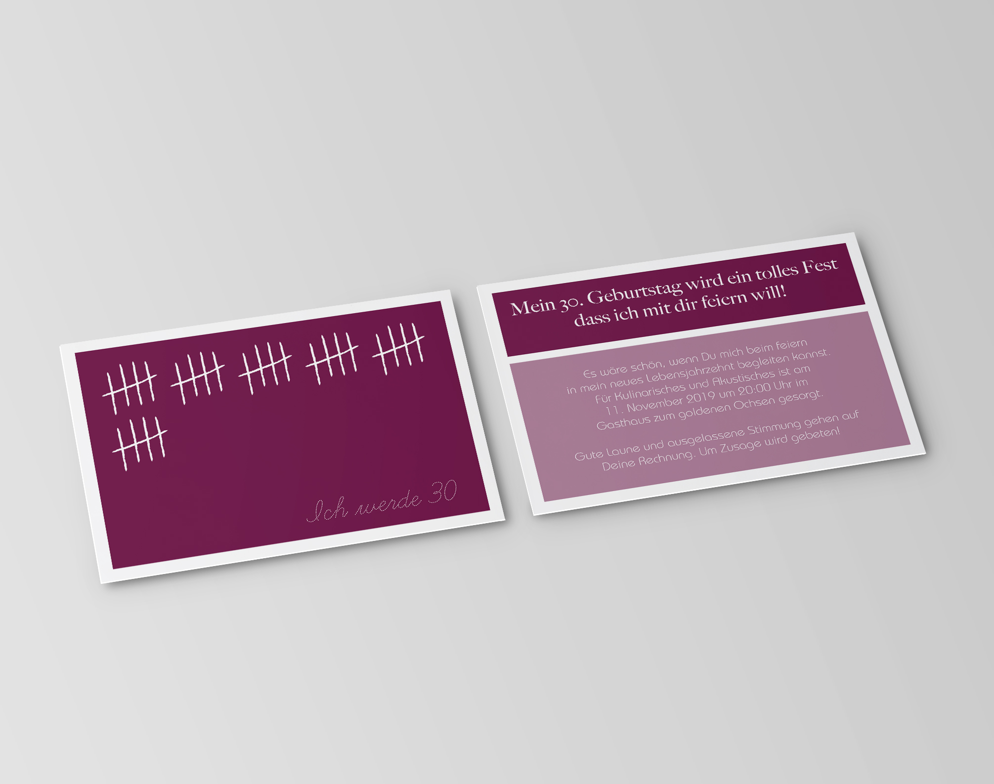 einladungskarten 30. geburtstag strichliste