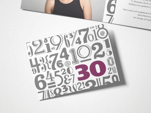 Einladungskarten 30. Geburtstag Zahlenwolke lila
