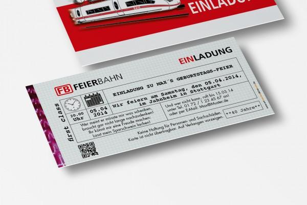 Einladung Einladungskarte lustig Geburtstag Feierbahn