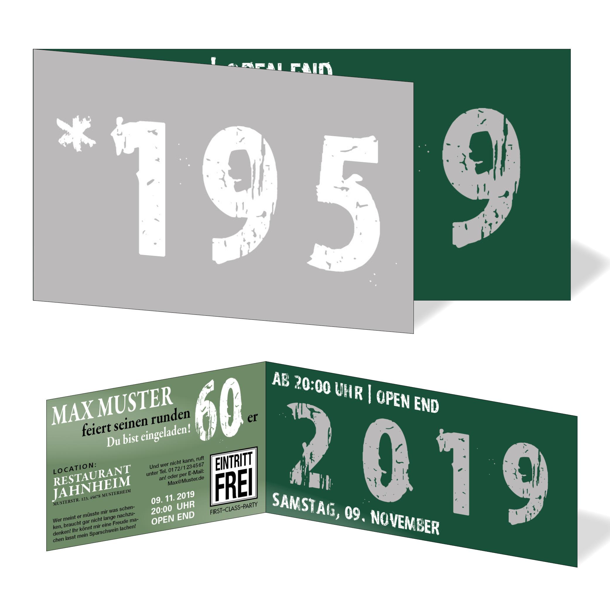geburtstag einladungskarten - 60. geburtstag zeitsprung