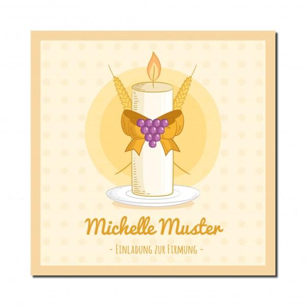 Einladung Einladungskarte Firmung Kerze