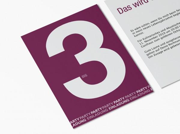 Einladungskarten 30. Geburtstag Große Zahl lila