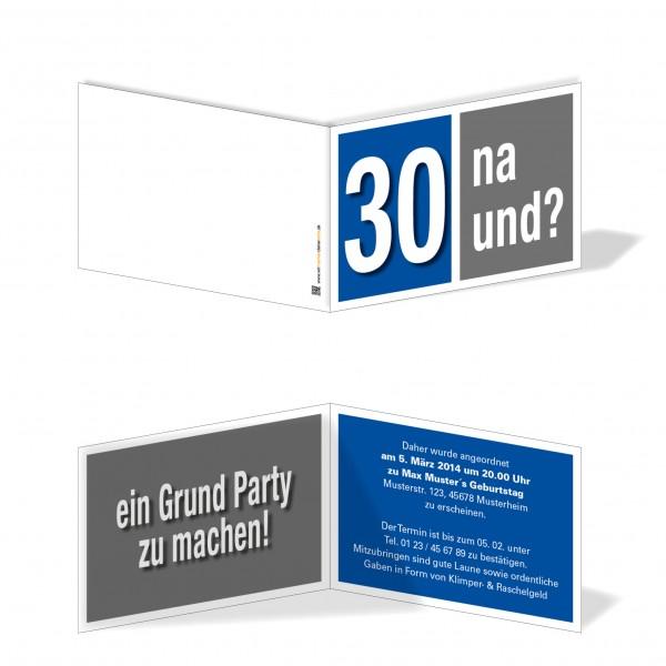 Geburtstag Einladungskarten - 30. Geburtstag Na und? blau