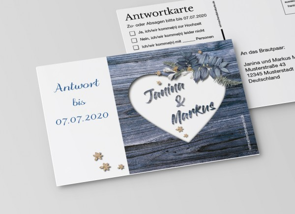 Antwortkarten für Einladung Hochzeit - Rustikale Holz-Optik blau