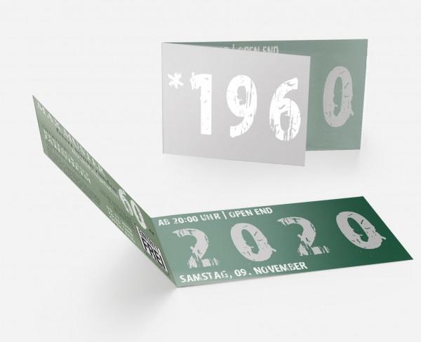 Geburtstag Einladungskarten - 60. Geburtstag Zeitsprung Dunkelgrün Silber
