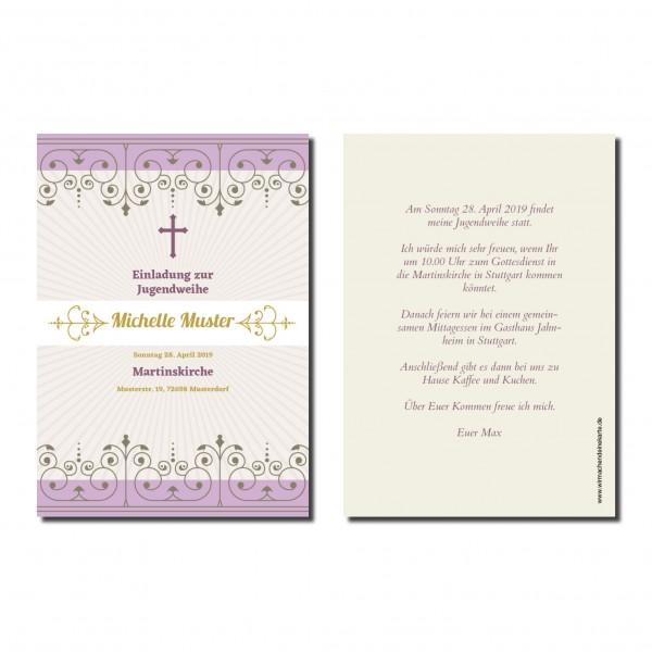 Einladung Einladungskarte Jugendweihe Violett