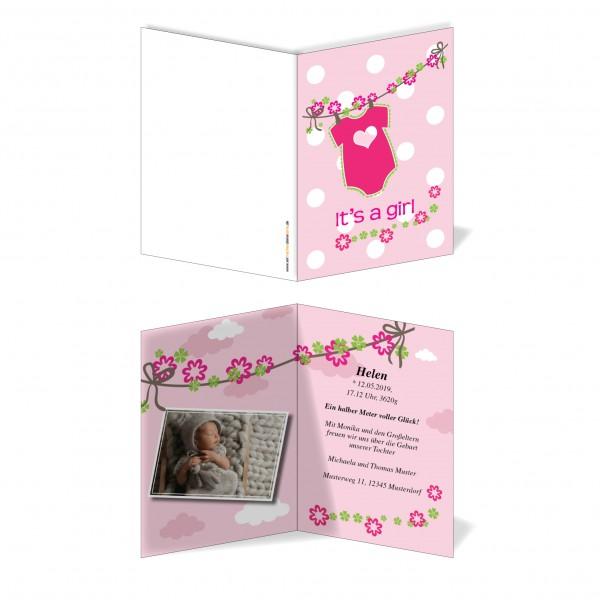 Geburtskarten Babykarten individuell - Mädchen pink Body