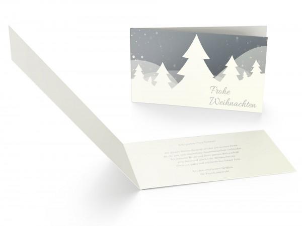 Weihnachtskarte Schneelandschaft Beige