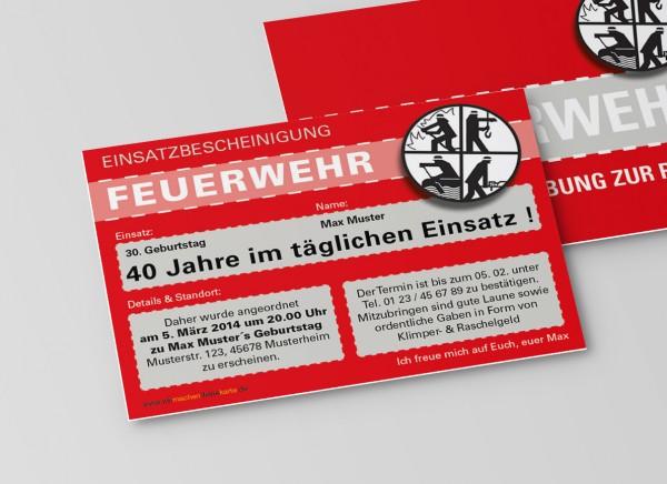 Feuerwehr Einladung Einladungskarte lustig Geburtstag DIN A6 quer 2-seitig