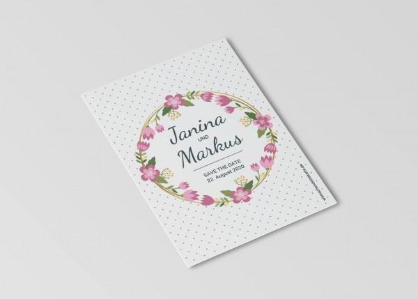 Save the Date Karten Einladung Hochzeit - Blumen Punkte