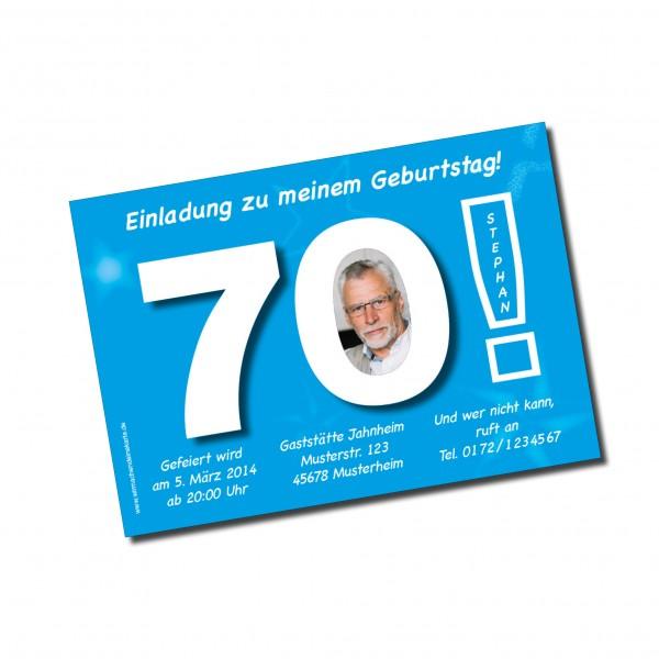 Geburtstag Einladungskarten - 70. Geburtstag Große 70 Hellblau