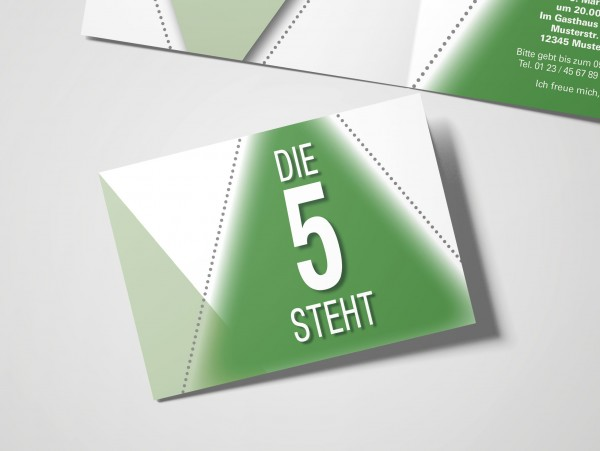 Geburtstag Einladungskarten - 50. Geburtstag Die 5 steht Grün