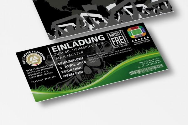 Einladung Einladungskarte lustig Geburtstag Fußball-Stadionticket schwarz