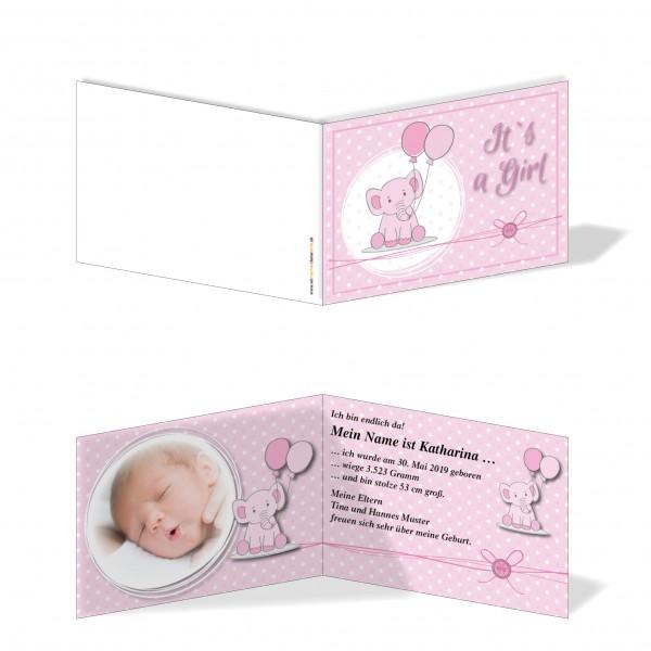 Geburtskarten Babykarten individuell - Mädchen Rüsseltier