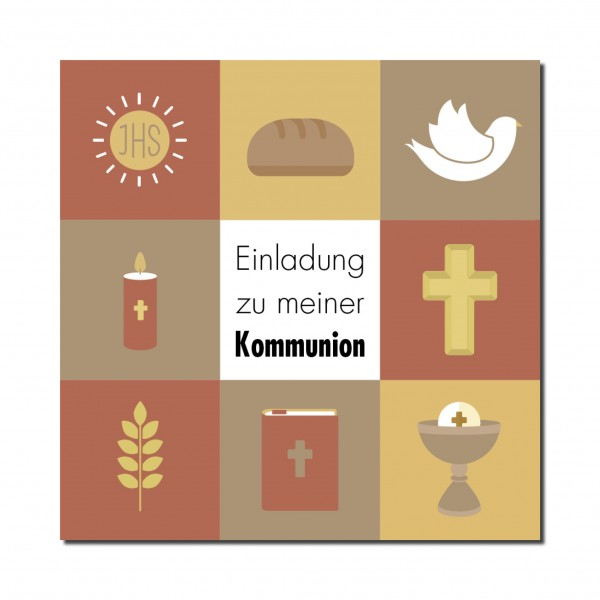 Einladung Einladungskarte Kommunion Quadrate Ocker