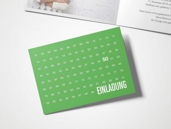 Einladungskarten 50. Geburtstag Zahlenreihe