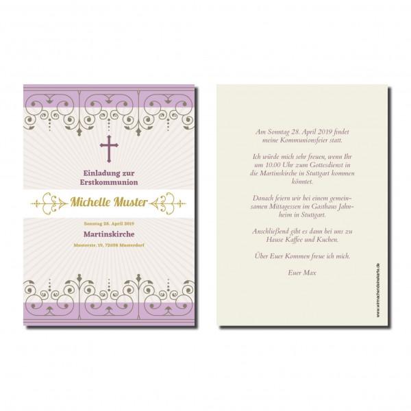 Einladung Einladungskarte Kommunion Violett