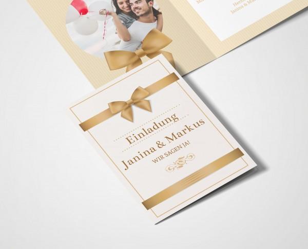 Einladungskarten Hochzeit Hochzeitskarten mit Druck - goldene Schleife