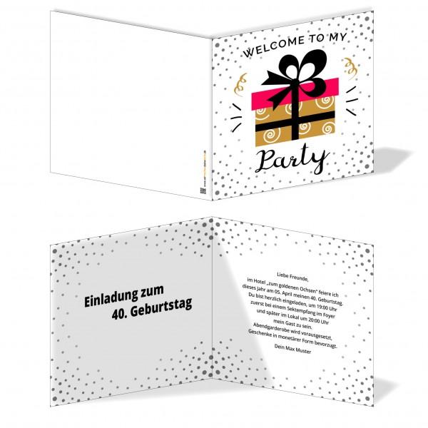 Einladung Einladungskarte Geburtstag Goldenes Geschenk