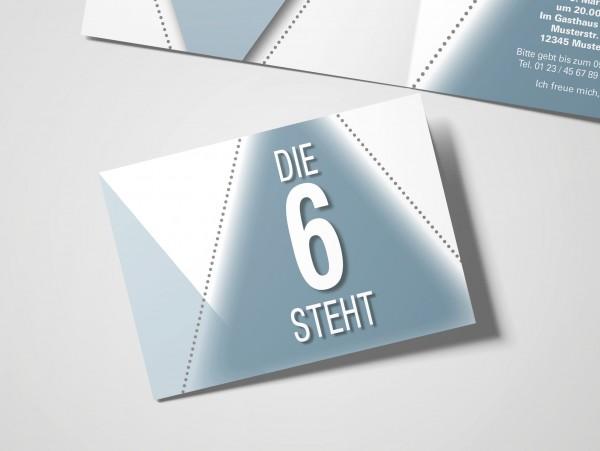 Geburtstag Einladungskarten - 60. Geburtstag Die 6 steht Grau