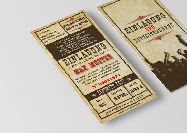 Einladung Einladungskarte lustig Geburtstag Western