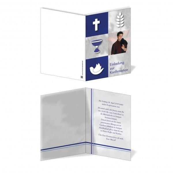 Einladung Einladungskarte Konfirmation Blaue Symbole