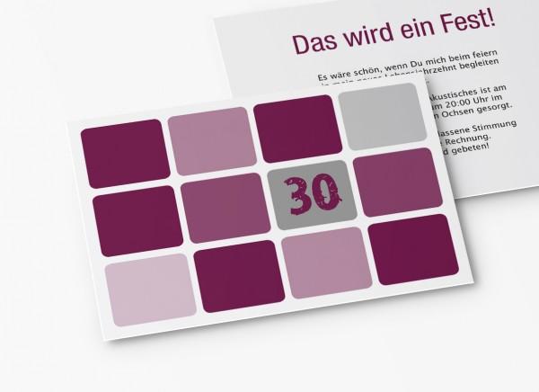 Einladungskarten 30. Geburtstag Runde Quadrate lila