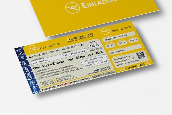 Einladung Einladungskarte lustig Geburtstag FeierAirlines gelb